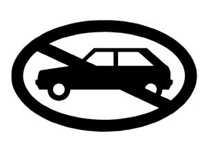 Durchgestrichenes Auto