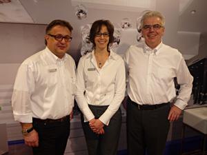 Susanne Gausepohl mit Axel Brandner und  Werner Brunbauer im Relaxed Vision Center