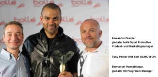 Alexandre Brachet, globaler bollé Sport Protective Produkt- und Marketingmanager, Tony Parker und Emmanuel Hannebicque, globaler RX Programm Manager