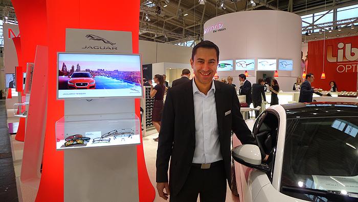 OPTI 2015 MENRAD: Sales Director Joachim Rauch - Edle Brillen- edles Jaguar Coupé.