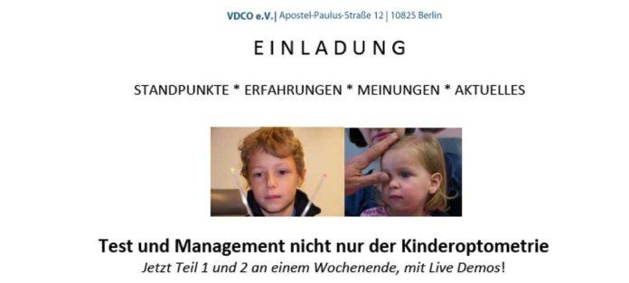 VDCO Seminar Test und Management nicht nur der Kinderoptometrie