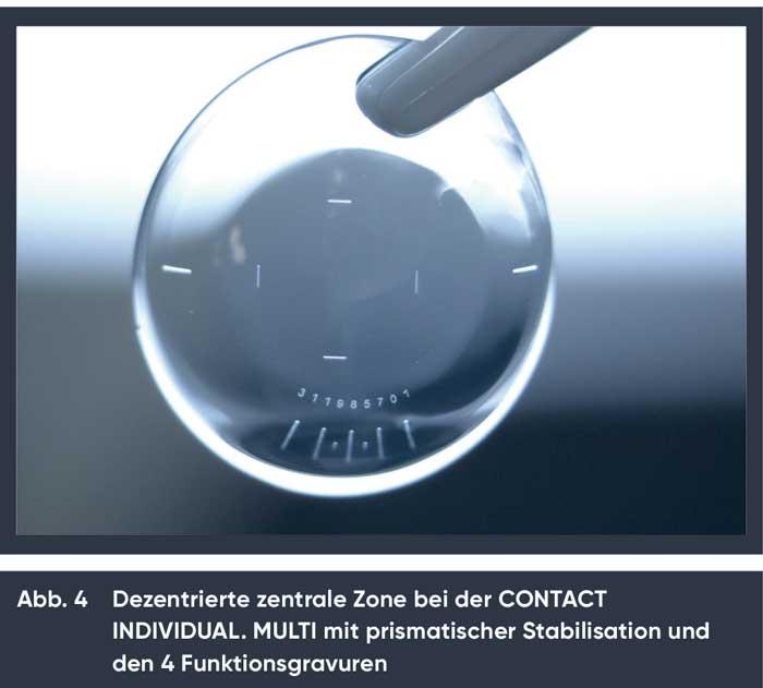 Die Messung der Dezentration erfolgt dabei ohne zusätzliche Messlinse einfach anhand von 4 Funktionsgravuren