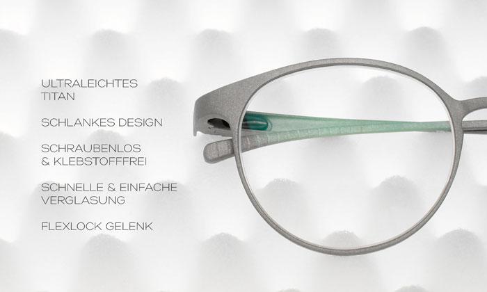 Die größte Errungenschaft bei der Entwicklung dieser Titan-Brille ist, dass sich die Fassung aus nur drei Teilen zusammensetzt