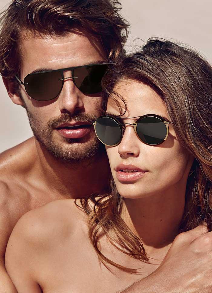 Die gewagte Sonnenbrille im Vintage-Look ist in den klassischen Farben Grün und Braun erhältlich