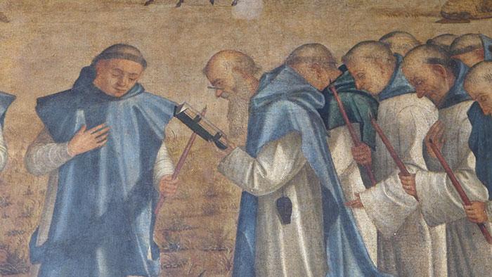 """Im Jahr 1502 entstand sein Werk """" Tod des heiligen Hieronymus"""", welches eine Brillenabbildung zeigt."""