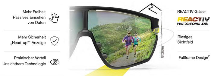Die EVAD-1 ist somit ein Wearable, das die Ausrüstung des Sportlers perfekt ergänzt. Diese neue Generation vernetzter Brillen ist mit den besten JULBO-Technologien wie selbsttönenden REACTIV Gläsern ausgestattet