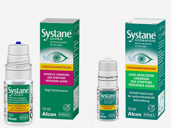 Alcon führt die BenetzungstropfenSystane® ULTRA ohne Konservierungsmittel und  Systane® HYDRATION ohne Konservierungsmittel ein.