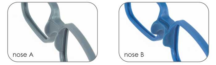 Eine Doppel-Spritzgussfassung mit zwei verschiedenen Nasenstegen