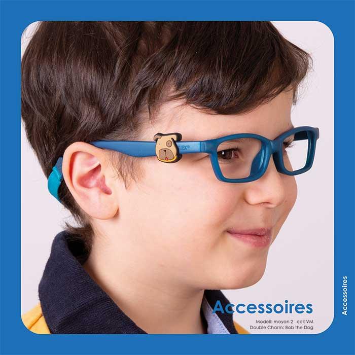 Sammelbare Charms die mit lustigen Motiven und Tierfiguren die Bügel der Miraflex Brillen verzieren